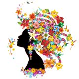 Hummingbird Kiss on Floral Girl (2013). Portrait shape of a Beautiful, Exotic Stylized Woman with Flowers instead of Hair, surrounded by flying Hummingbirds. One vector illustration