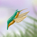 Hummingbird. A painterly stylize depiction of a hummingbird in front of a grass background vector illustration
