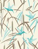 Hummingbird and reed. Floral seamless pattern in pastel color palette Stock Image