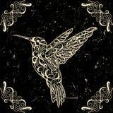 Hummingbird. Tattoo art. Retro banner, invitation,card, scrap booking. t-shirt, bag, postcard, poster. Stock Photos