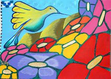 Hummingbird wśród kwiatów zdjęcia royalty free