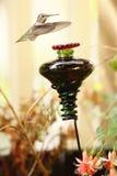 Hummingbird zbliża się ptasiego dozownika zdjęcia royalty free