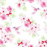 Hummingbirds and bunches with magnolias and roses seamless vecto Stock Image