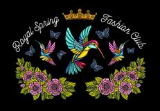Hummingbirds butterflies crown flowers embroidery patch. Humming. Bird floral leaf wings Insect embroidery. Hand drawn vector illustration stock photos