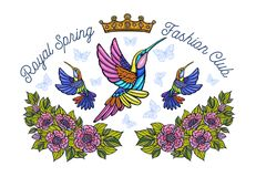 Hummingbirds butterflies crown flowers embroidery patch Royal sp. Ring fashion club. Humming Bird floral leaf wings Insect embroidery. Hand drawn vector stock photography