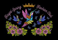 Hummingbirds butterflies crown flowers embroidery patch royal sp royalty free illustration