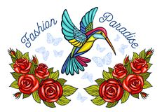 Hummingbirds butterflies crown roses embroidery patch fashion pa stock photo