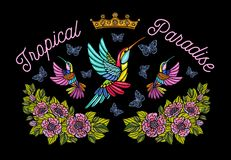 Hummingbirds butterflies crown roses embroidery patch fashion tr. Opical paradise. Humming Bird floral leaf wings Insect embroidery. Hand drawn vector royalty free stock image