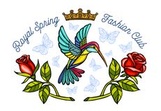 Hummingbirds butterflies crown roses embroidery patch Royal spring fashion club. Humming Bird floral leaf wings Insect embroidery. Hand drawn vector royalty free stock photos