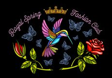 Hummingbirds butterflies crown roses embroidery patch Royal spring fashion club. Humming Bird floral leaf wings Insect embroidery. Hand drawn vector stock image