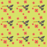 Hummingbirds in the flowers, seamless texture for printing on fa. Hummingbirds in the flowers, seamless textures for printing on fabric, vibrant flora and fauna Stock Photo