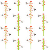 Hummingbirds in the flowers, seamless texture for printing on fa Stock Image
