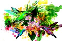Hummingbirds and flowers on watercolor background. Stock Photo
