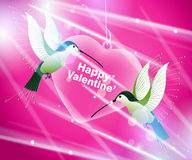 Hummingbirds flying around pink heart Royalty Free Stock Photo