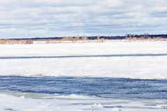 The hummocks and floes on the winter river royalty free stock photography