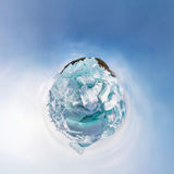 The hummocks of ice of lake baikal in the stereographic projecti Royalty Free Stock Photo