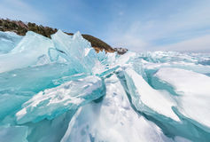 Hummocks of of lake baikal ice in a stretched widescreen format. Blue hummocks of of lake baikal ice in a stretched widescreen format Stock Image