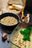 Hummus或houmous,开胃菜由与tahini的被捣碎的鸡豆制成,柠檬、大蒜、橄榄油、荷兰芹、小茴香和雪松 免版税图库摄影