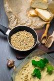 Hummus或houmous,开胃菜由与tahini的被捣碎的鸡豆制成,柠檬、大蒜、橄榄油、荷兰芹、小茴香和雪松 免版税库存图片