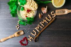 Hummus或houmous,开胃菜由与tahini的被捣碎的鸡豆制成,香橼、大蒜、橄榄油、荷兰芹、小茴香和雪松 免版税库存照片