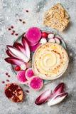 Hummus用橄榄油晒干了和辣椒粉和新鲜蔬菜:萝卜,西瓜萝卜,红色苦苣生茯,石榴 免版税图库摄影