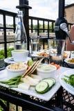 Hummus盛肉盘和新鲜的夏天菜 库存照片