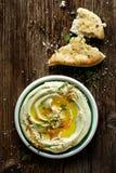 Hummus ευρέων φασολιών, vegan εμβύθιση Στοκ Εικόνες