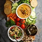 Hummus и диск овощей с салатом зерна Стоковое Фото