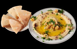 Hummus. Mashed chickpeas with olive oil Royalty Free Stock Photo