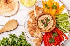与被分类的新鲜蔬菜和皮塔饼面包的自创hummus 免版税库存照片
