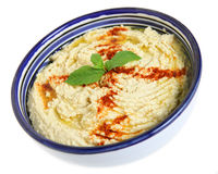 Hummus in Arab bowl Stock Image