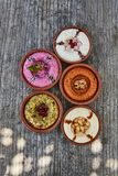Arabic starters, dips, side dishes. Hummus, baba garnush and other middle eattern side dishes/dips royalty free stock images