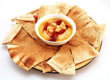 Hummus and bread stock images