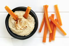 Hummus with Carrot Sticks Top View Stock Image