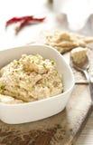 Hummus casalingo del cece Fotografie Stock Libere da Diritti