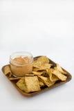 Hummus and Chips. Hummus Tomato Basil with Crisp Pita Chips Stock Photo