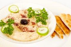 Hummus com Pita Imagens de Stock