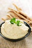 Hummus con il pane di pita Fotografia Stock