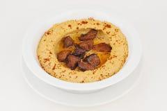 Hummus con la carne Foto de archivo libre de regalías