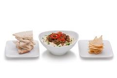 Hummus con la carne picada Imagen de archivo libre de regalías