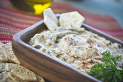 Hummus and crackers royalty free stock photography