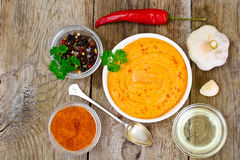 Hummus with Curry, Turmeric, Raw Chickpeas on the Boards Royalty Free Stock Photos