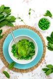 Hummus das ervilhas verdes com as folhas de hortelã fresca fotos de stock royalty free