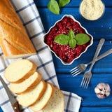 Hummus de las remolachas Imagen de archivo libre de regalías