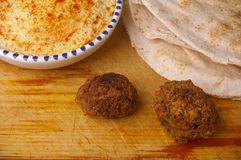 Hummus dip with falafel Stock Image