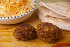 Hummus dip with falafel Royalty Free Stock Photography