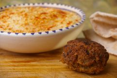 Hummus dip with falafel Stock Images