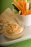 Hummus dip with pita brad and vegetable Stock Image