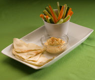 Hummus dip with pita brad and vegetable Royalty Free Stock Photography