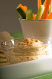 Hummus dip with pita bread and vegetable Royalty Free Stock Images